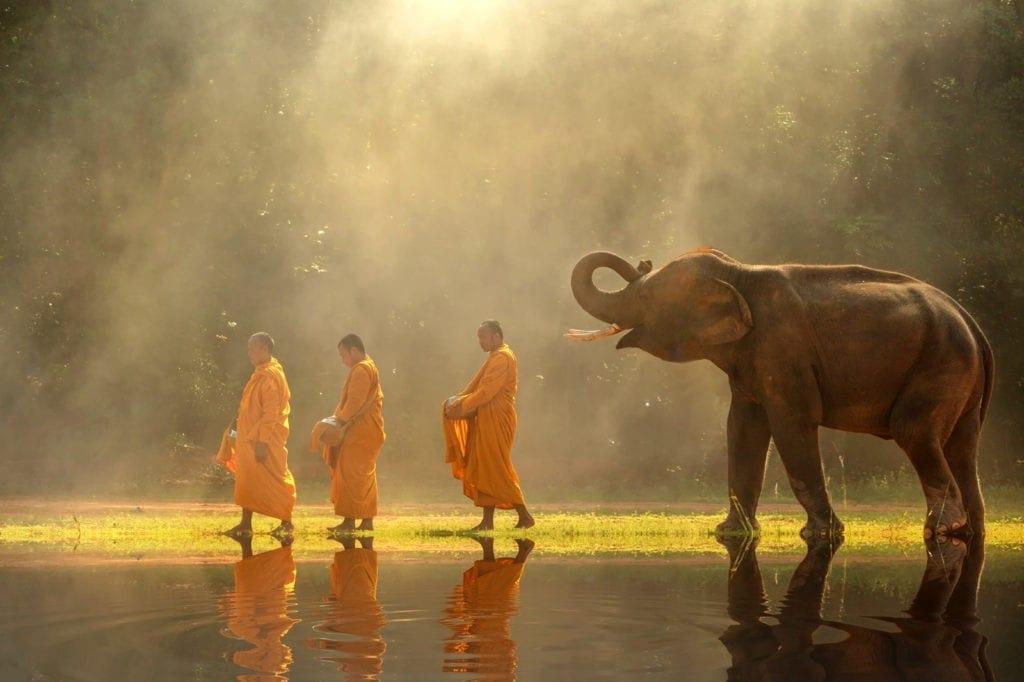 Burmese Zodiac Animal Signs Elephant Monks
